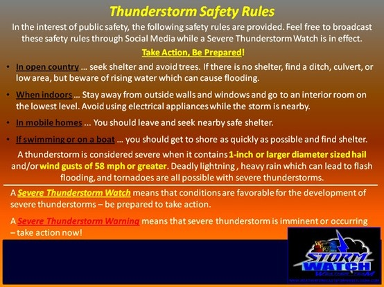 how to stay safe during thunderstorms