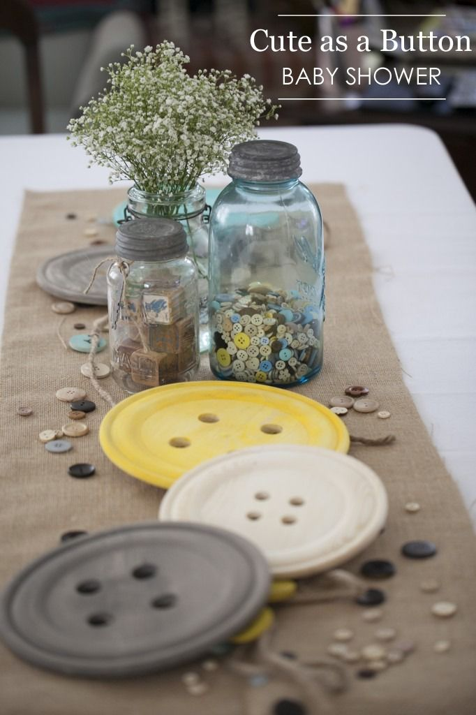 "Baby Shower Ideas for ""Cute as a Button"" themed #babyshower: Vintage Baby Shower, Baby Shower Theme, Baby Shower Ideas, Baby Baby, Party Idea, Mason Jars, Baby Showers"