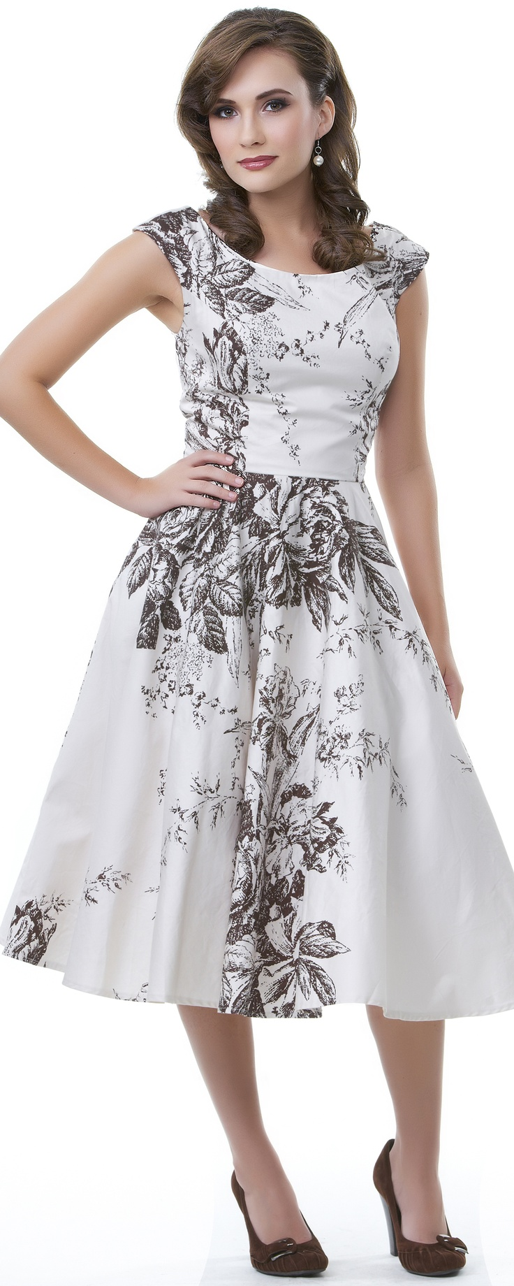 High Tea Coco Brown & Ivory Scoop Neck Dress - Unique Vintage - Pinup, Holiday & Prom Dresses.