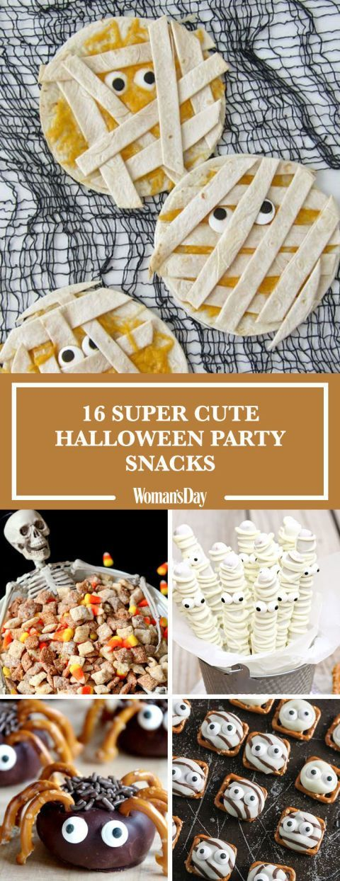 These impressive Halloween snack recipes will have your party guests hooked from the first bite​. Here you'll find fun and easy ideas like Halloween Puppy Chow, Quesadilla Mummies, Mini Spider Doughnuts, and more.