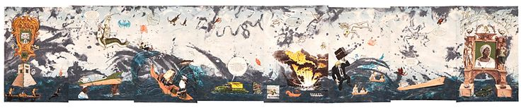 "Enrique Chagoya : ""Illegal Alien's Guide to the Concept of Relative Surplus Value"": 2009  Color lithograph : 15 x 80"" :"