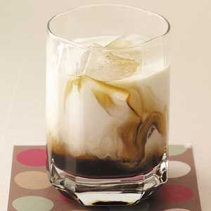 WHITE RUSSIAN (Munich Style) - 1-1/2 ounces vodka; 1-1/2 ounces Kahlua; 3 ounces heavy whipping cream or milk - Place ice in a rocks glass. Pour the vodka, Kahlua and cream into the glass. Yield: 1 serving. Do not stir, should look 'swirly'.