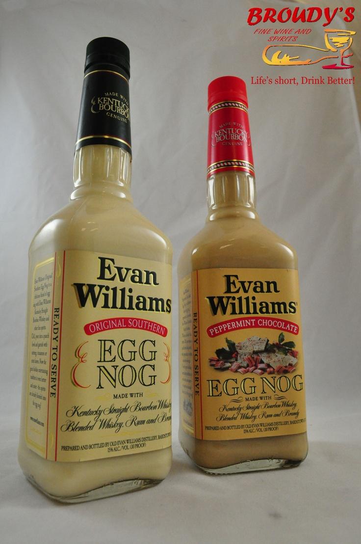 Evan Williams Egg Nogs 750ml. Original Southern and Peppermint Chocolate. The Williams boys are here. And they want to celebrate. Awesome egg nogs, not overly sweet or thickened, with smooth Evan Williams bourbon. The best nog you'll hog in a grog then snog a frog in a bog.