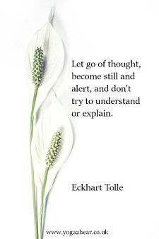 Let go of thought, become still and alert, and don't try to understand or explain.  Eckhart Tolle