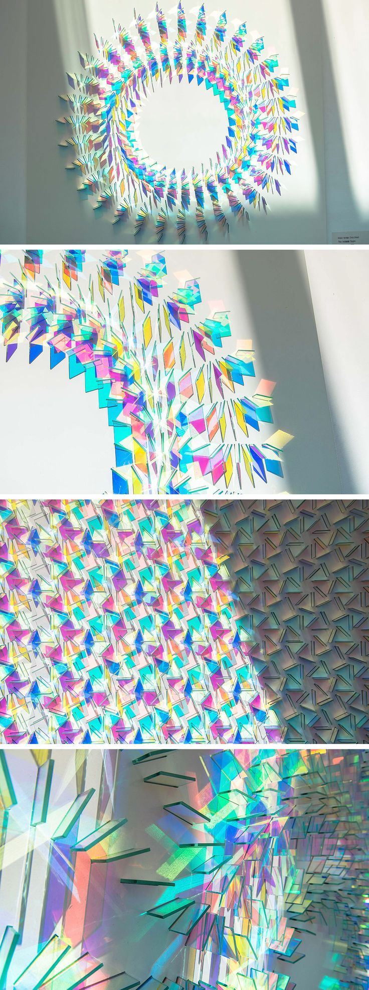 Dichroic Glass Installations by Chris Wood Reflect Light in a Rainbow of Color