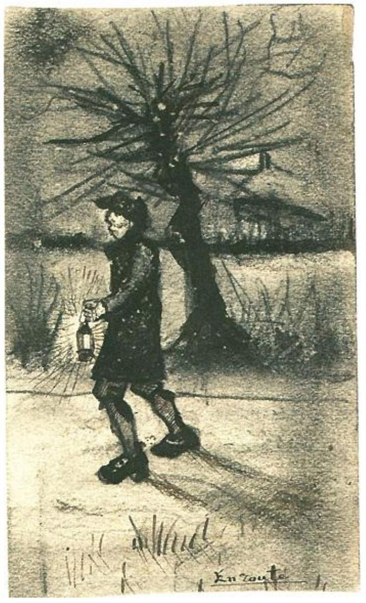 En Route  Drawing, Pencil, pen and brush in brown and black ink, on wove paper  Brussels: January, 1881  Van Gogh Museum  Amsterdam, The Netherlands, Europe