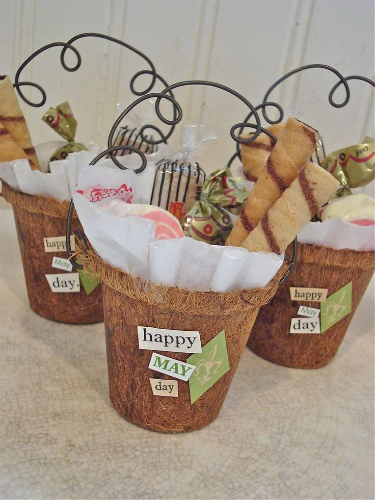Peat Pot baskets with wire handles.