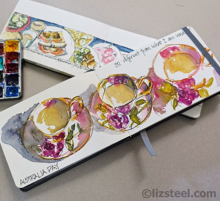 Teacups in the perfect sketchbook by the perfect sketcher Liz Steel