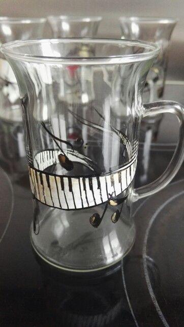 Handpainted coffeeglas music