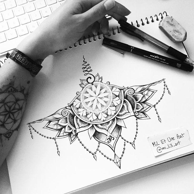 sternum tattoo design from instagram @mi_li3_art