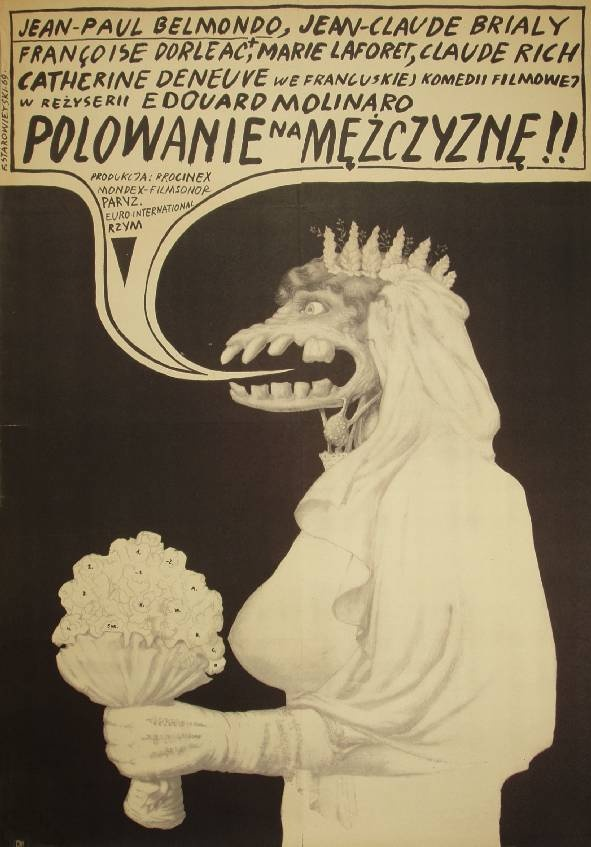 truly strange polish movie poster for 'la chasse à l'homme' (aka 'male hunt', 1964) by franciszek starowieyski, 1969