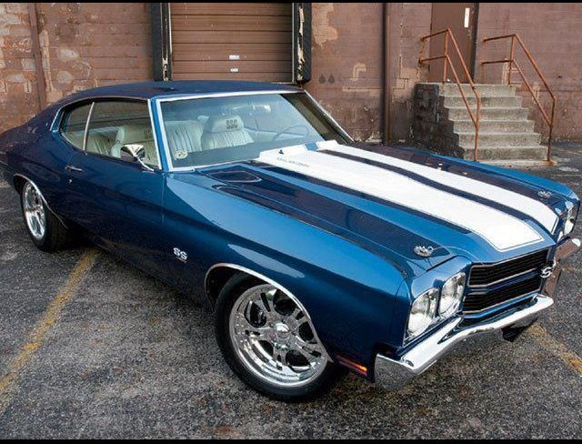 Chevelle SS with racing stripes. The car I always wanted and will have one day.