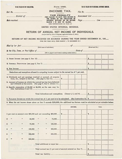 Prologue: Pieces of History » The 16th Amendment and 100 years of Federal income taxes