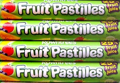 'Rowntree's Fruit Pastilles' (now owned by Nestle) were first made in Fawdon, Tyneside, England in 1881. Small round sweets with a jelly-like consistency, due to the gelatin they are made from, and are covered with sugar. They contain fruit juice, have no artificial colors or flavors, and come in five flavors: lemon (yellow), lime (green), strawberry (red), blackcurrant (purple) and orange (orange).Tubes of Fruit Pastilles are wrapped in foil-backed paper with a paper wrapper over the top.