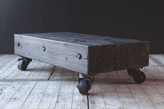 Reclaimed coffee table on vintage casters.