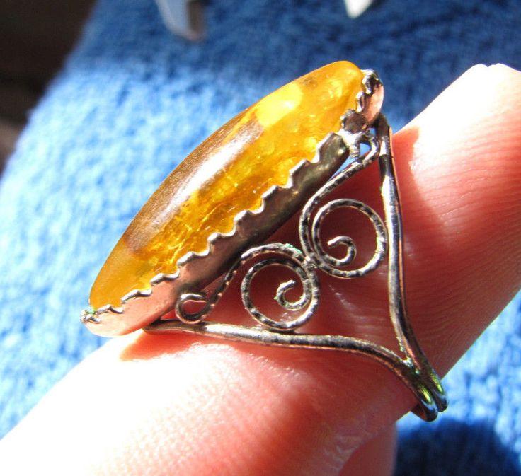 Natural Baltic amber 3 gr ring yellow 琥珀 gemstone openwork handmade Size 8 #HandMade