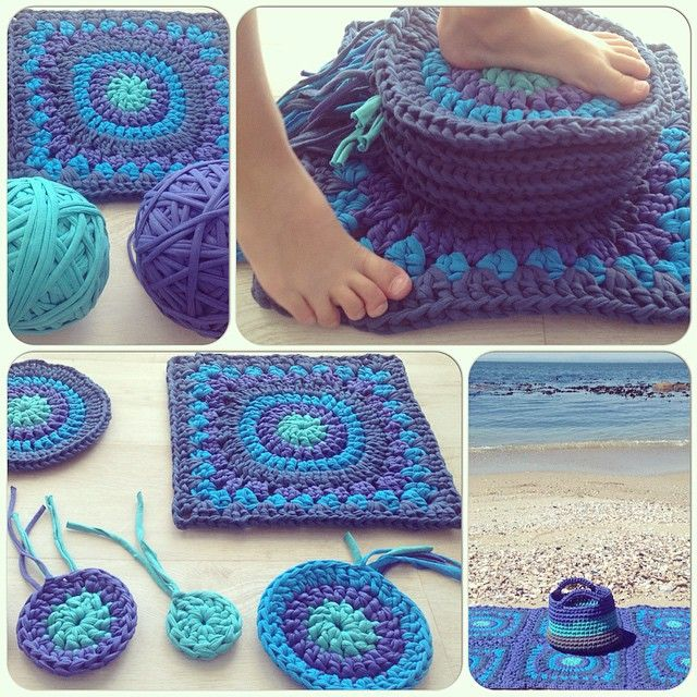 Crochet Granny Square Rug Patterns : crochetinpaternoster crochet tshirt yarn granny rug and ...