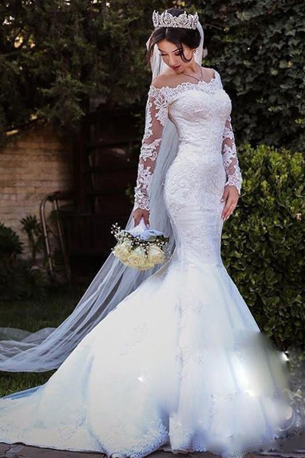 2f8a1c7a00c Amazing Tulle Off-the-shoulder Neckline 2 In 1 Wedding Dresses With Lace  Appliques   Detachable Skirt