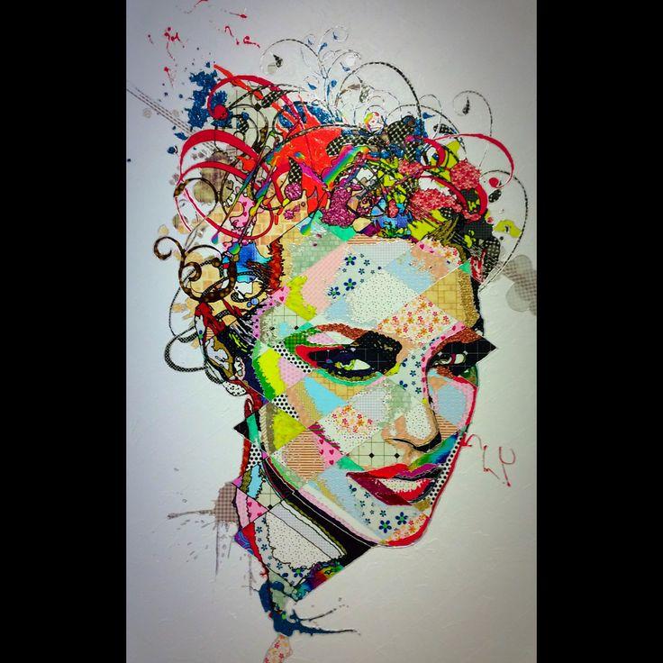 """Pınar Du Pre """"Jemica"""" 215x135cm/mixed media on canvas/2015"""