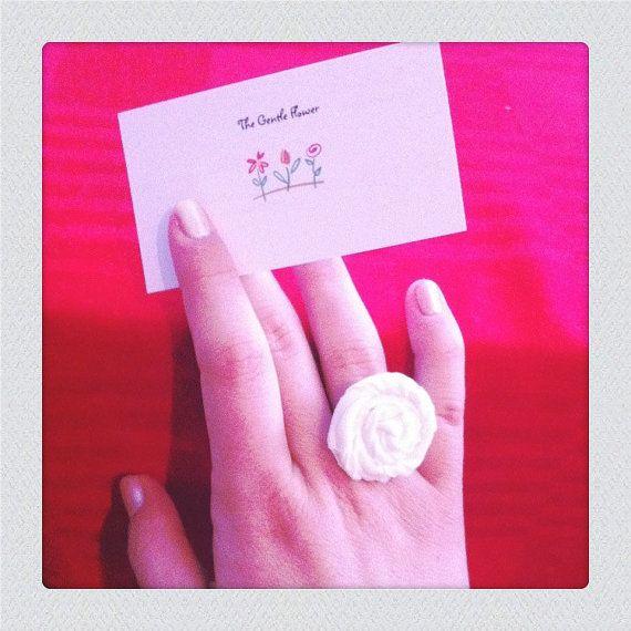 Cream White Rosette Ring by TheGentleFlower on Etsy