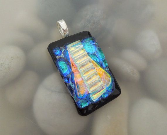 Blue Green Salmon Layered Dichroic Fused Glass by AnoisJewelry