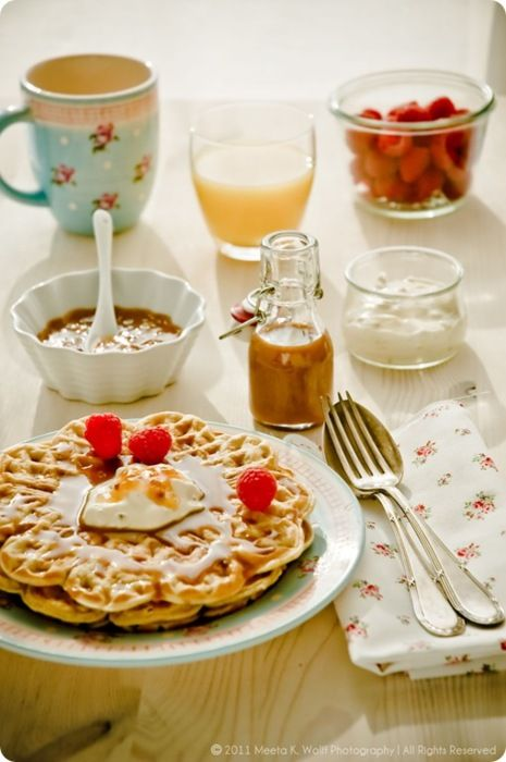 Rømmevafler: Norwegian Sour Cream Waffles with Brunost and Cloudberry Cream