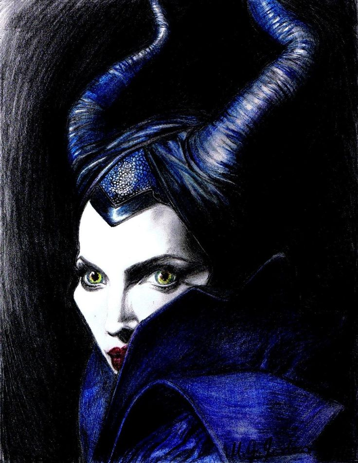 """Well, Well"" - Maleficent coloured pencil sketch, by Mandy Jean Jordan."
