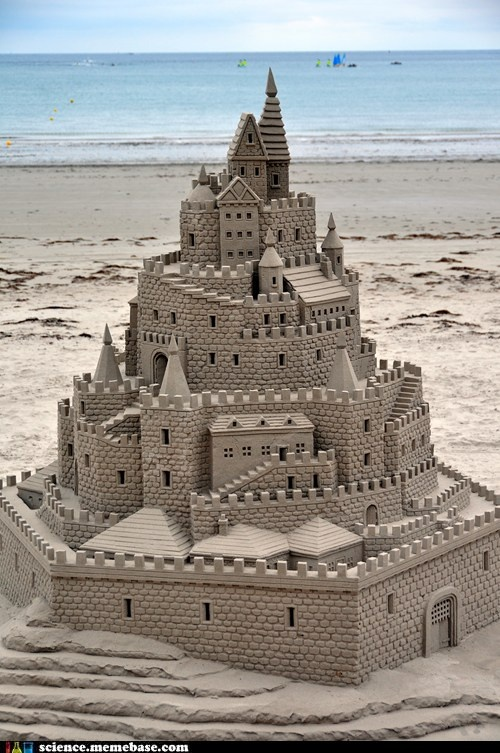 Sand Science: Scientists have cracked the code for building the tallest possible sandcastle: Use very little water... So exactly how much water do you need to make a perfect sandcastle? Traditional estimates put the ratio at one pail of water for every eight pails of sand (or 12.5 percent water). But new research revises the amount of liquid down to just 1 percent.