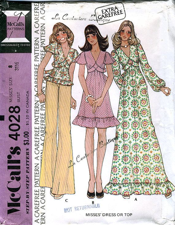 McCall's 4028 Vintage 70s Misse's Dress or Top Sewing Pattern - Uncut - Size 8 - Bust 31.5