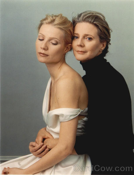 Annie Leibovitz photo.  Blythe Danner said that while she was holding her daughter Gwyneth Paltrow for this photo that she came to tears because it had been so long since she held her little girl like that - so still.