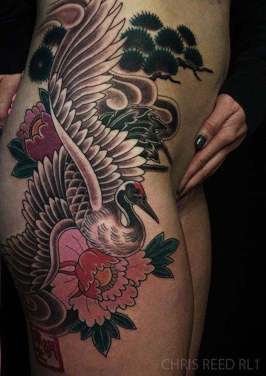 Red Letter 1 Chris Reed Crane tattoo peony tattoo Japanese floral tattoo Japanese tattoo feminine tattoo thigh tattoo irezumi traditional Japanese tattoo redletter1 Thigh Tattoo full color bird animal tat