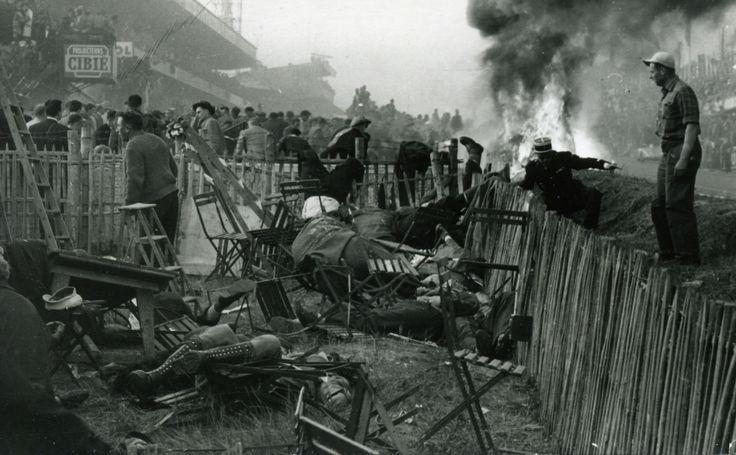 Aftermath of the 1955 car crash at Le Mans. 83 dead