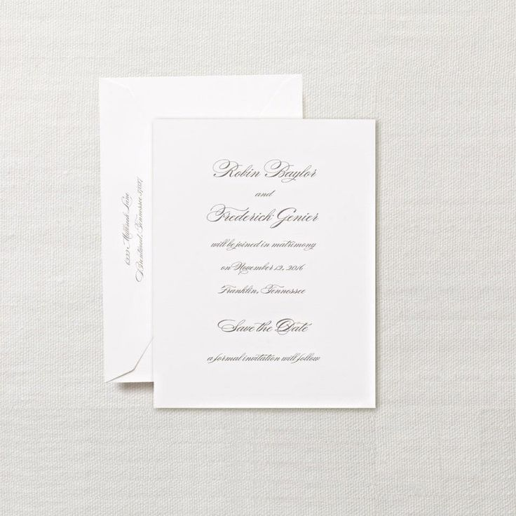 address wedding invitation unmarried couple%0A Hand Engraved Pearl White Save the Date Card