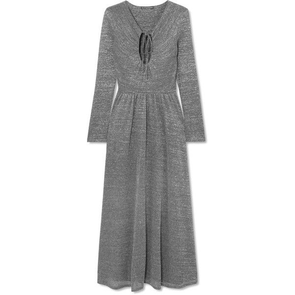 ALEXACHUNG Metallic stretch-knit maxi dress found on Polyvore featuring dresses, gray maxi dress, cut-out maxi dresses, metallic dress, neck ties and maxi dresses
