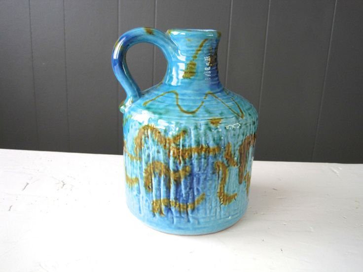 Vintage Carstens Tonnieshof Vase 7556-17 Turquoise with brown& blue details, Made in West Germany, Retro, Modern, Mid Century by DoceVikaVintage on Etsy