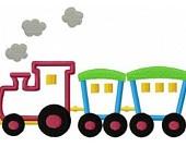transportation Train engine applique machine embroidery design