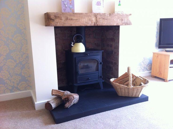 Mantle for woodburner - aged oak beam light/medium