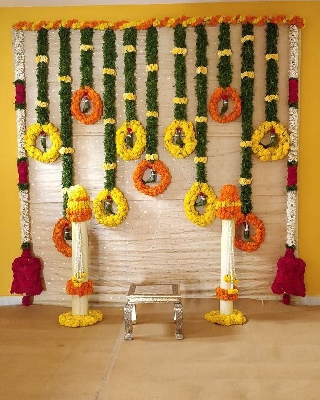 This Simple Traditional Pellikuthuru Backdrop For Client Sindhu Occa Housewarming Decorations Wedding Flower Decorations Stage Decorations