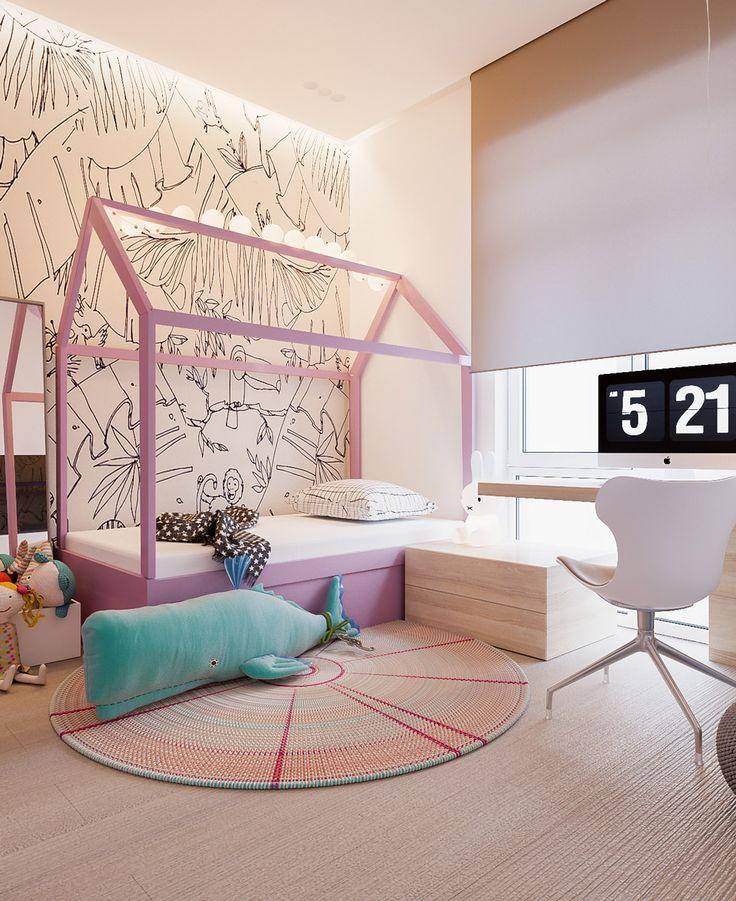 Stanza per ragazza, stile moderno, molto delicata e luminosa con il letto a forma di casetta - colori rosa e bianco