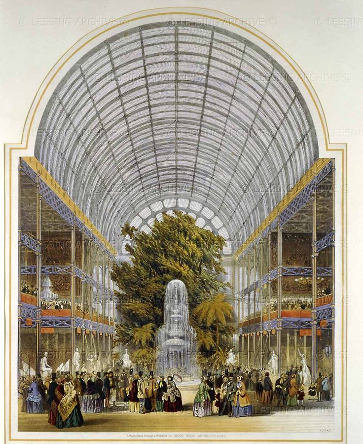 "The transept, inside Crystal Palace, Hyde Park. From ""Dickinson's comprehensive pictures of the Great Exhibition of 1851."" England; 1854."