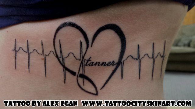 sound waves, heartbeat, heart, child's name, woman's side tattoo by Alex Egan. Lockport, IL. www.tattoocityskinart.com