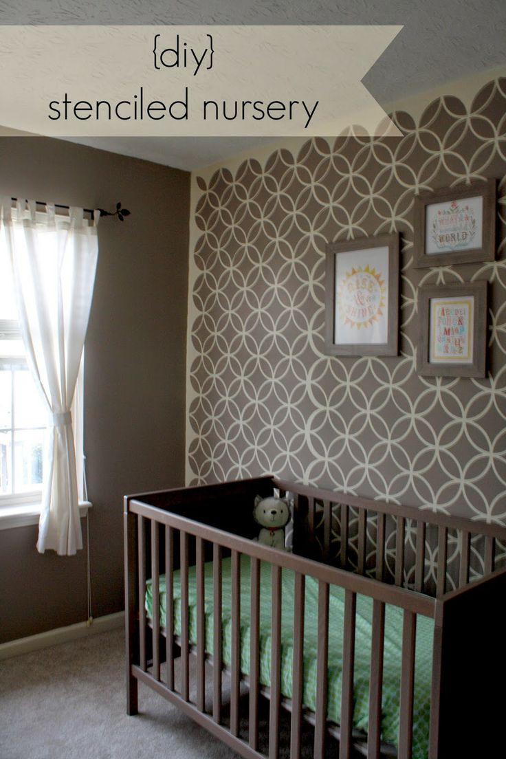 Stenciled and painted nursery decor on walls from Royal Design Studio
