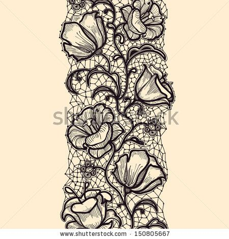 Seamless lace pattern with flowers and elements of the web - stock vector