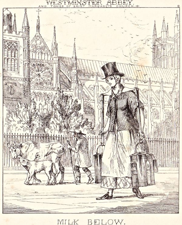 """""""London Cries & Public Edifices"""" by John Leighton (1851): """"Of dealers in milk there are two classes – the one keeping cows, and the other purchasing it from dairymen in the outskirts and selling it on their own account."""""""