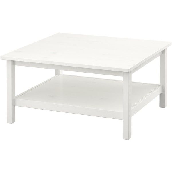 IKEA HEMNES Coffee table, white stain white ($119) via Polyvore featuring home, furniture, tables, accent tables, coffee table, ikea, coffee & side tables, white lacquer side table, white table and white lacquer shelves