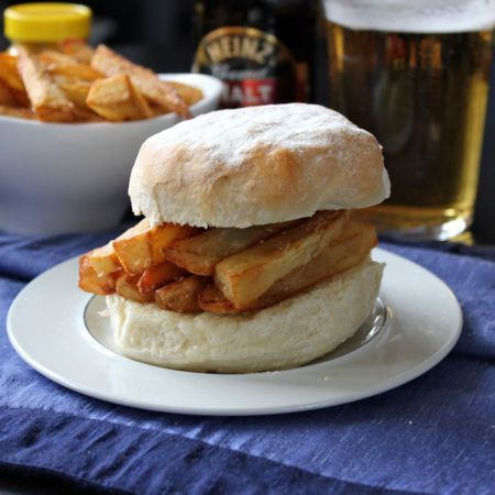 Chip Butty on Wterford Blaa - a traditional in Ireland.