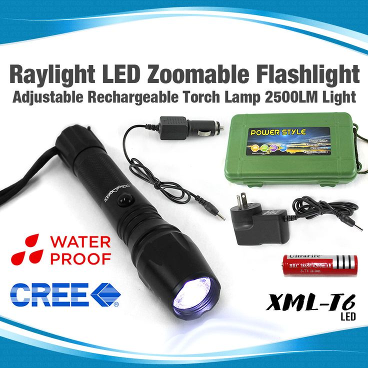 Raylight CREE LED Flashlight Zoomable Adjustable Rechargeable Torch Lamp 2500Lm Light