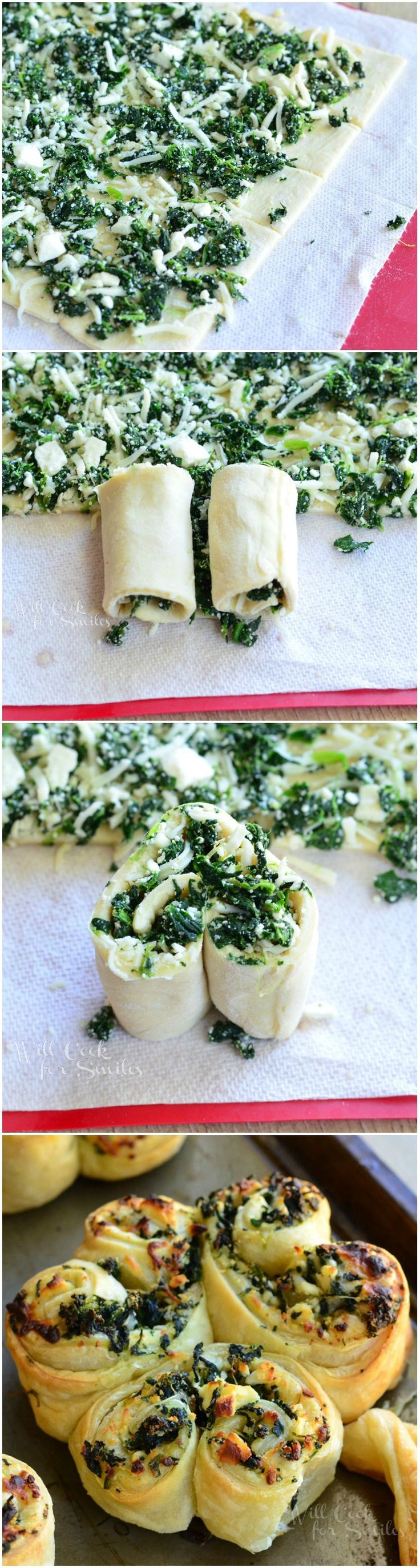 Spinach and Feta Pastry Shamrock | from willcookforsmiles.com