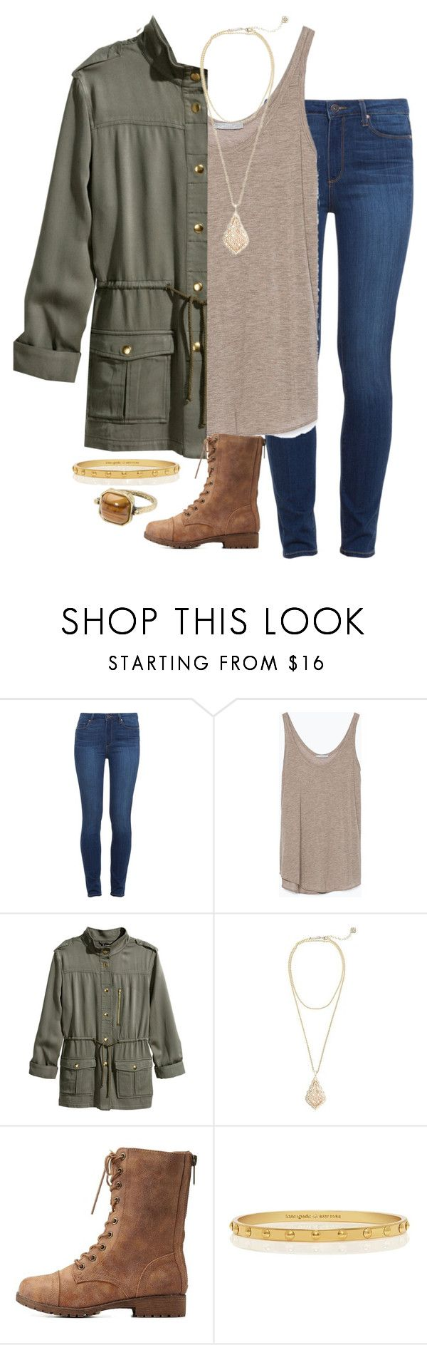 """Can't sleep"" by madelynprice ❤ liked on Polyvore featuring Paige Denim, Zara, H&M, Kendra Scott, Charlotte Russe, Kate Spade and MANGO"