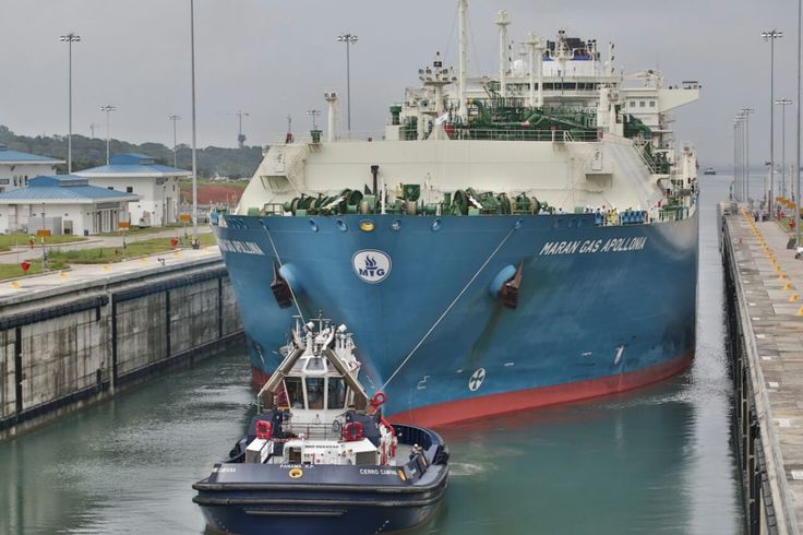 The LNG carrier Maran Gas Apollonia becomes the first LNG carrier to use the Panama Canal, in the Agua Clara locks on the Atlantic side of the Panama Canal, Monday, July 27, 2016. Photo: Panama Canal Authority (ACP)